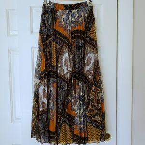 H&M Boho Full Length Pleat Skirt